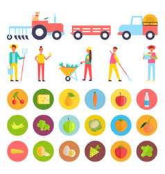 Farm people and harvest icons vector