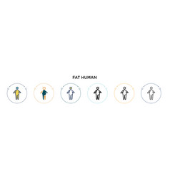 Fat human icon in filled thin line outline vector