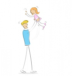 father playing with daughter vector image