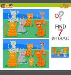 Find differences activity game with cats vector