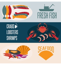 Flat design banners with seafood theme vector