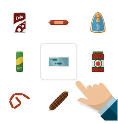 Flat icon food set of spaghetti ketchup tin tuna vector