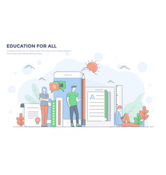 Flat line modern concept - education for all vector
