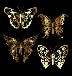 four golden butterfly vector image