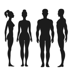 Front and side view silhouettes man woman vector
