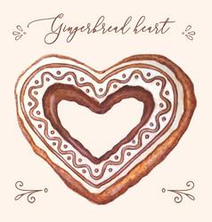 gingerbread heart heart vector image