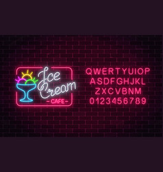 Glowing neon ice cream cafe signboard with vector
