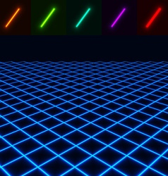 Glowing perspective floor - easy to change color vector