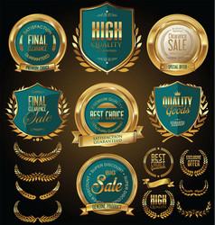 golden sale shields laurel wreaths and badges vector image