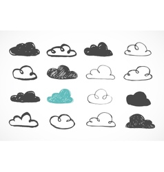 Hand drawing clouds icons vector