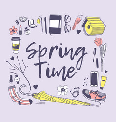 Hand drawn spring fashion objects and quote vector