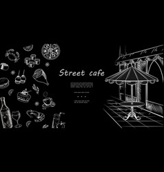 hand drawn street cafe menu template vector image