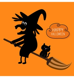 Happy Halloween witch and black cat silhouette vector