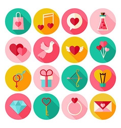 Happy Valentine Day Circle Icons Set with long vector
