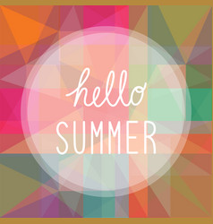 hello summer on colorful background1 vector image