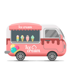 Ice cream street food caravan trailer vector