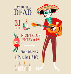 invitation poster for day dead party vector image