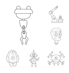 isolated object of robot and factory sign vector image