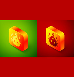 Isometric ladybug icon isolated on green and red vector