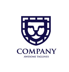 lion shield logo design template vector image