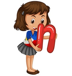 Little girl holding letter N vector