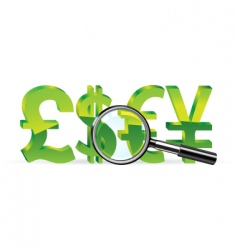 magnifier and sign of money vector image