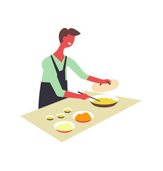 Man cooks food and dishes and serves in bowls vector