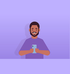 man holding cellphone african american guy using vector image