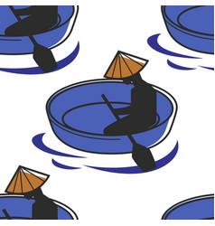 Man in boat in vietnamese hat with oar seamless vector