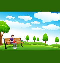 man reading a book on the bench vector image
