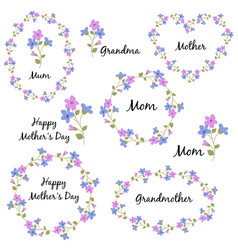 Mothers day set with flowers vector