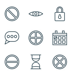 Network icons set with obstacle positive vector