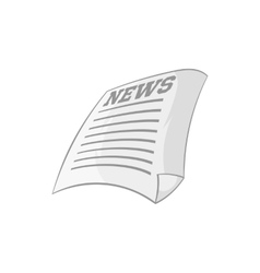 Newspaper icon black monochrome style vector image