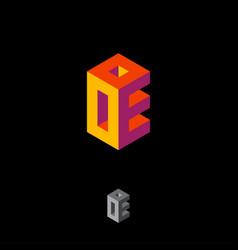 o and e monogram box logo volume typographic compo vector image