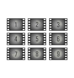 Old cinema film countdown movie frames with vector