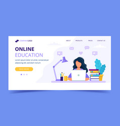 online education landing page with a girl studying vector image