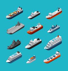 Passenger and cargo ships sailing boats yachts vector