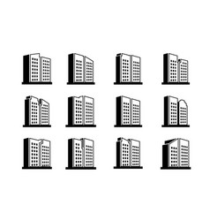 Perspective company icons and line buildings set vector