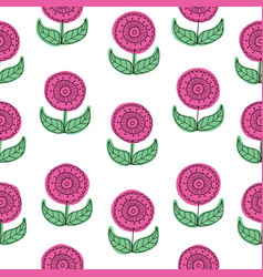 pink floral seamless pattern background vector image