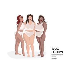 Plus size model friends girls support girls girls vector