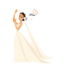 pride throwing her bouquet isolated vector image