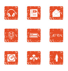 Protect the earth icons set grunge style vector