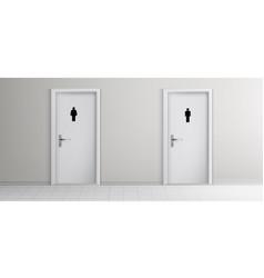 public toilet doors in corridor realistic vector image