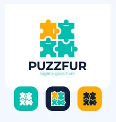 puzzle pieces furniture logo design puzzle logo vector image