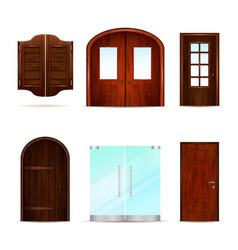 Realistic front doors collection vector