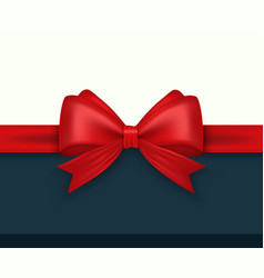 realistic red bow and ribbon vector image