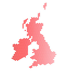 red dotted great britain and ireland map vector image