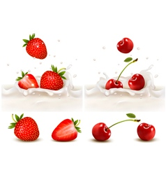 Red strawberry and cherries fruits falling vector