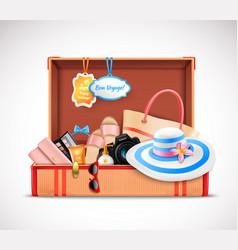 Retro suitcase vacation luggage open realistic vector