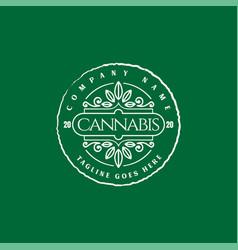 Retro vintage cannabis marijuana hemp cbd oil vector